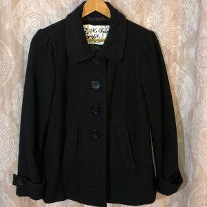 Black Peacoat Button Down Coat